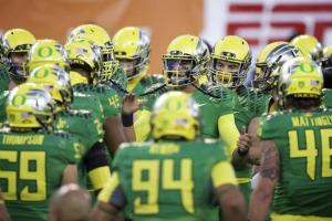 The Ducks look to win another Rose Bowl trophy, ad their first national championship (Courtesy of Bleacher Report)