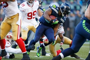 Marshawn Lynch put together one heck of a performance against San Francisco. (Courtesy of KomoNews)