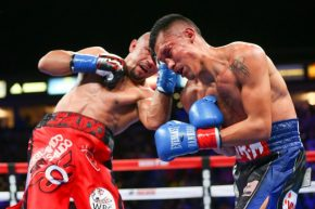 Salido (left) and Vargas (right) trying to land vicious punches on each other