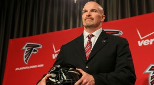FLOWERY BRANCH, GA - FEBRUARY 03: Atlanta Falcons head coach Dan Quinn poses for a photo during a press conference at the Atlanta Falcons Training Facility on February 3, 2015 in Flowery Branch, Georgia.  (Photo by Daniel Shirey/Getty Images)